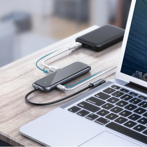 Baseus Multi-function HUB Type-C to USB3.0*4+PD for Mobile Phone and Computer for MacBook / PC Dark Grey (CAHUB-EZ0G)
