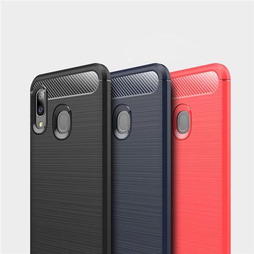 Carbon Case Flexible Cover TPU Case for Samsung Galaxy A20e black