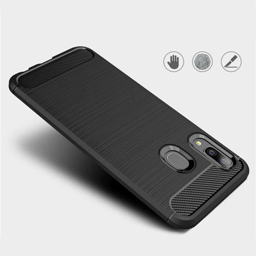 Carbon Case Flexibel Handyhülle TPU Schutzhülle für Samsung Galaxy A20e schwarz