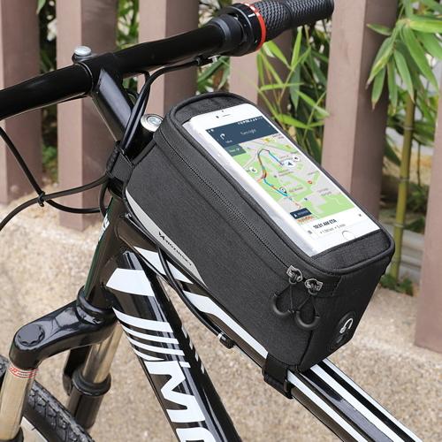 Wozinsky Fahrradtasche Rahmentasche Handyhalterung für Smartphone 6,5 Zoll max 1L schwarz (WBB6BK)