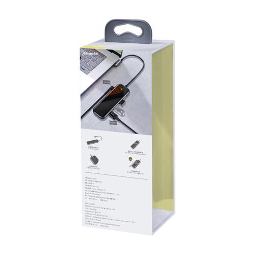 Baseus adapter przejściówka HUB USB Typ C na 4x USB 3.0 / USB Typ C PD do MacBook / PC szary (CAHUB-EZ0G)